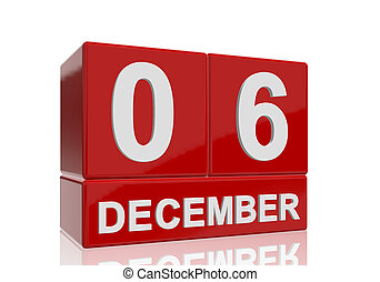 The date of 6 December in white numbers and letters on red, glossy blocks, standing and mirrored isolated in front of a white background.