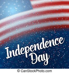 The Day of independence of USA Vector Poster. 4th of July American Red Flag on Blue Background with Stars and Confetti