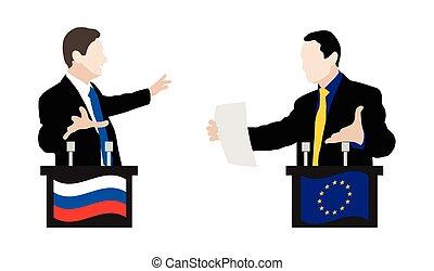The debate between speakers. Rhetoric - The debate between...