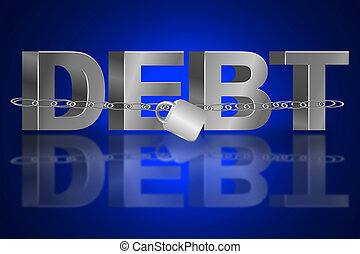 The debt trap. - Illustration depicting the word 'debt' with...