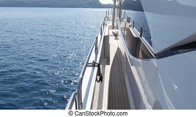 The deck is the expensive big yacht. Yacht moored in Budva,...