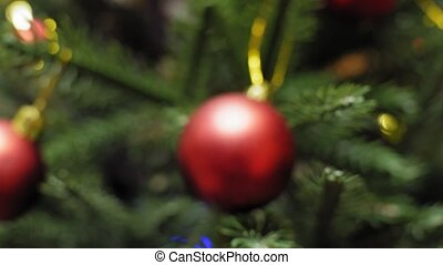 The Decorations Christmas Tree Toy, soft focus.