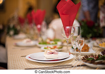 The decorations for wedding table