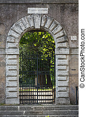 the decorative gate to one of the villa on the hill ...