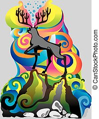 The deer on the hill. Multicolor author illustration , can...