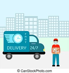 The delivery man is standing with a box in his hands near the car.