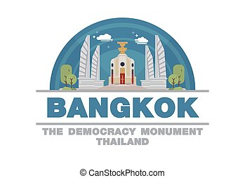 The Democracy Monument of Bangkok,Thailand Logo symbol flat design