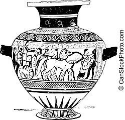 The departure of Priam, vintage engraving.