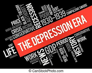 The Depression Era word cloud collage