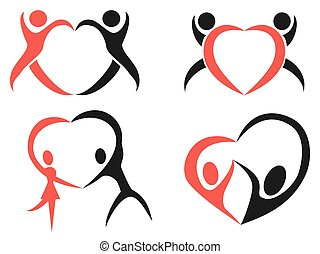 Abstract people heart symbol