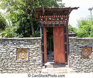 the design of bhutan gateway in the garden