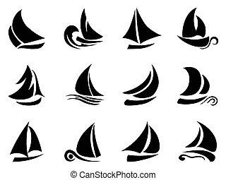 the design of black sailboat symbol on white background