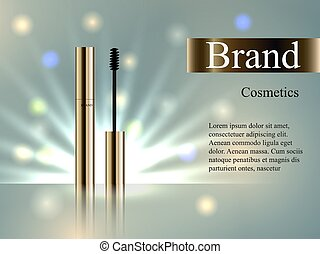 The design of cosmetics, the Golden mascara on the delicate background with bright beams of light and spots, 3D realistic vector advertising
