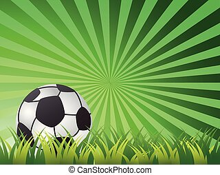 Soccer Ball On green sun ray Background