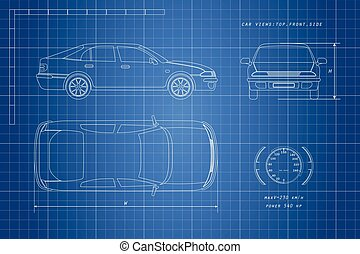 The design of the car drawing on a blue background. Three types: top, side, front