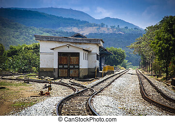 The destination point. Forgotten railway station on a foggy morning somewhere in the state of MInas Gerais, Brazil.