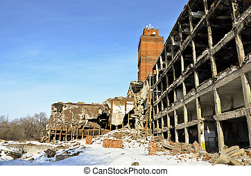 The destroyed factory 13