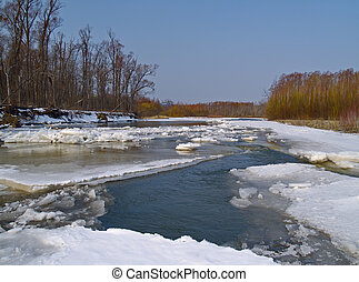 The destroyed ice on spring river