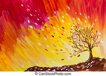 wind blows the leaves of the tree