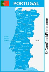 The detailed map of Portugal with regions or states and cities, capitals.