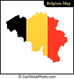 The detailed map of the Belgium with national Flag