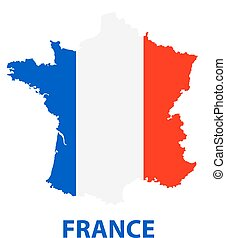 The detailed map of the France with flag
