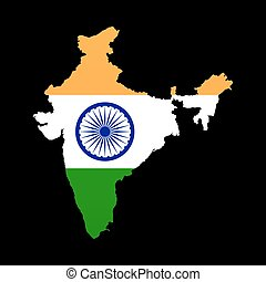 The detailed map of the India with flag