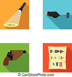 The detective's flashlight illuminates the footprint, the criminal's hand with the master key, a pistol in the holster, the kidnapper's claim. Crime and detective set collection icons in flat style vector symbol stock illustration web.