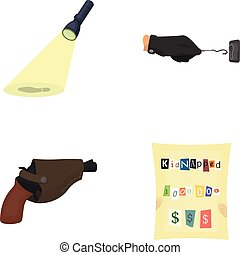The detective's flashlight illuminates the footprint, the criminal's hand with the master key, a pistol in the holster, the kidnapper's claim. Crime and detective set collection icons in cartoon style vector symbol stock illustration web.
