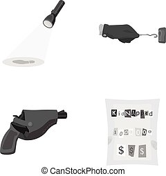 The detective's flashlight illuminates the footprint, the criminal's hand with the master key, a pistol in the holster, the kidnapper's claim. Crime and detective set collection icons in monochrome style vector symbol stock illustration web.