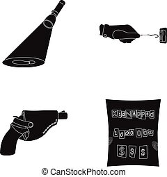 The detective's flashlight illuminates the footprint, the criminal's hand with the master key, a pistol in the holster, the kidnapper's claim. Crime and detective set collection icons in black style vector symbol stock illustration web.