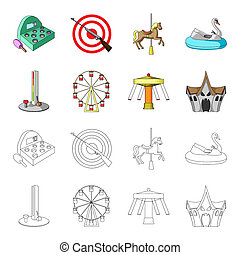 The device with a bat for measuring strength, a ferris wheel, a carousel, a house with windows. Amusement park set collection icons in cartoon, outline style bitmap symbol stock illustration web.