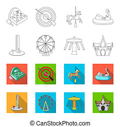 The device with a bat for measuring strength, a ferris wheel, a carousel, a house with windows. Amusement park set collection icons in outline, flat style bitmap symbol stock illustration web.