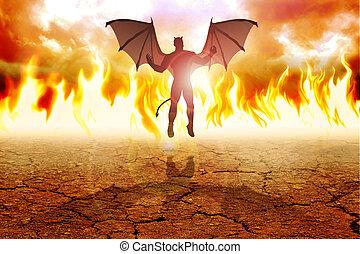 The Devil - Silhouette illustration of the Devil on fire...