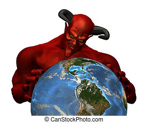 The Devil Rules the World - 3d render depicting the devil in...