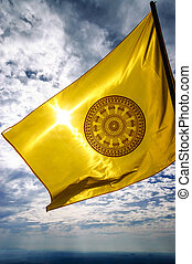 The Dharmachakra flag, symbol of Buddhism in Thailand