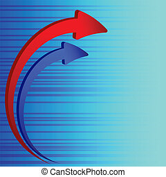 The diagram in the form of red and blue arrows on a striped background