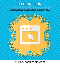 the dialog box. Floral flat design on a blue abstract background with place for your text. Vector