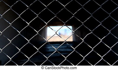 The diamond shape metal wire fence