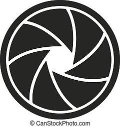 The diaphragm icon. Aperture symbol. Flat Vector...