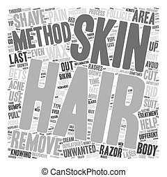 The Different Methods of Hair Removal text background wordcloud concept