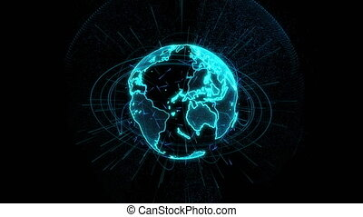 Rotation of a shining Planet Earth with particles. Abstract background with a green planet