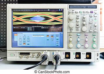 The digital oscilloscope. Close-up Photos