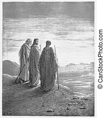 The disciples encounter Jesus on the road to Emmaus - Picture from The Holy Scriptures, Old and New Testaments books collection published in 1885, Stuttgart-Germany.