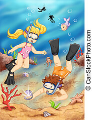 colored illustration of two children under to the sea