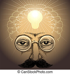 Illustration with face of scientist and lamp light up his brains inside as metaphor of discovery drawn in retro style