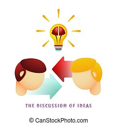 The discussion of ideas. Icon. Light bulb with brain. Vector illustration. Flat. Gradient.