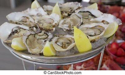 The Dish With Oysters - The dish with oysters with fresh...