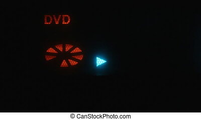 The display shows the symbols play, stop. Symbol disk dvd. Concept, digital symbol on screen