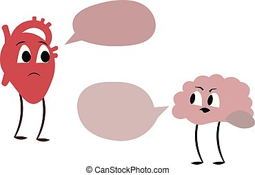 The dispute between the heart and the brain. Comics. Design for medical poster.